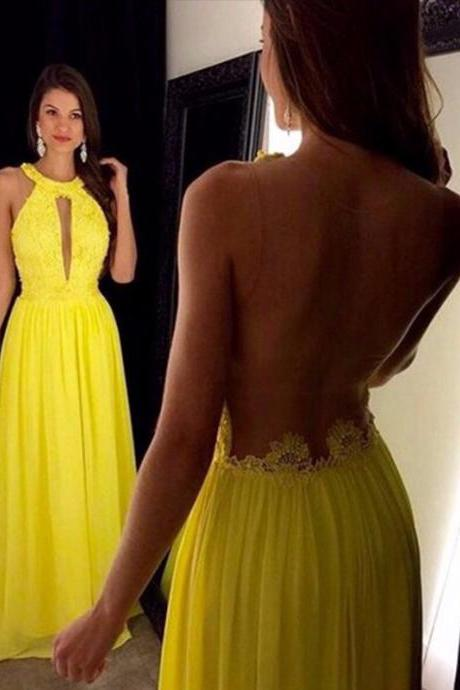 Sexy Sheer Back Floor Length Yellow Chiffon Party Dress