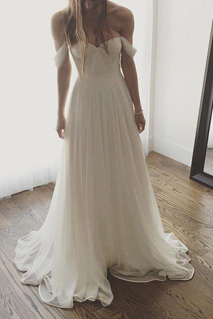 Ivory Off the Shoulder Chiffon Wedding Dress