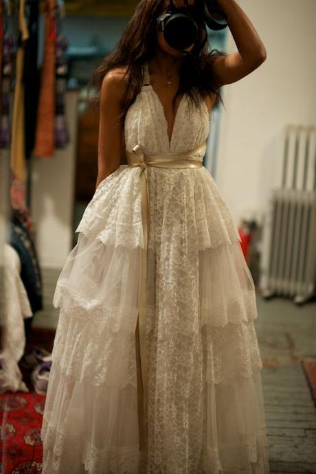 Backless Boho Wedding Dress with Tiered Skirt
