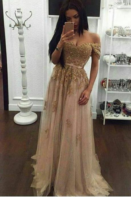 Off the Shoulder Corset Prom Dres with Gold Appliques