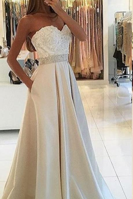 Sleeveless Sweetheart Prom Dress with Beaded Waist
