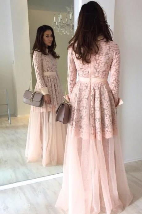 Modest Round Collar Long Sleeves Formal Occasion Dress