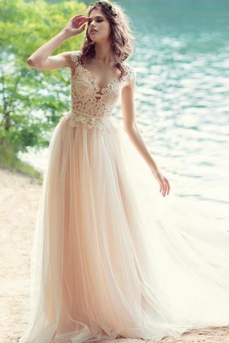 Blush Bohemian Beach Wedding Dress with Open V Back