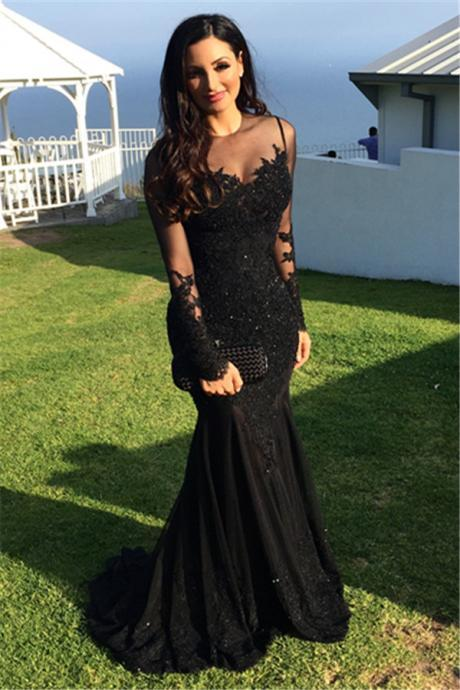 Prom Dress Sheer Sweetheart Neckline Black Mermaid Formal Occasion Dress with Long Sleeves