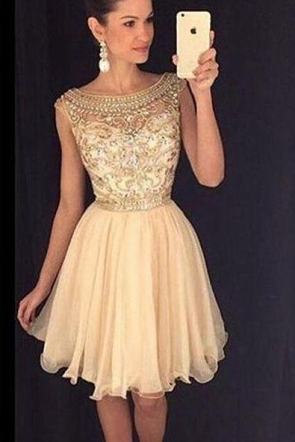Sabrina Neckline Beaded Champagne Chiffon Short Graduation Party Dress