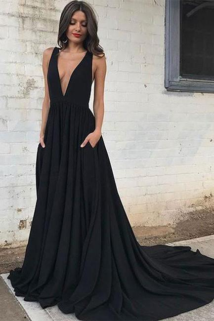 Formal Occasion Dress Low Cut V Neck Black Chiffon Prom Dress