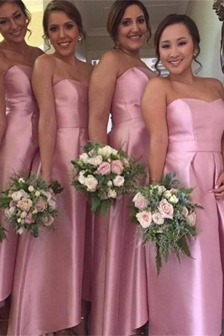 Custom Made Pink Sweetheart Neckline Long Satin Guest Wedding Dress, Bridesmaid Dress