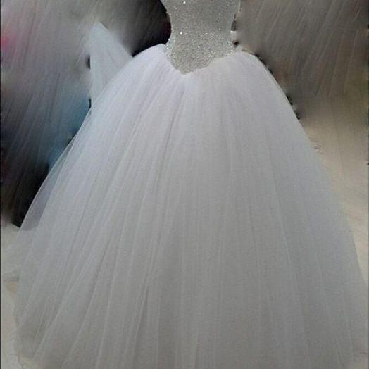 Basque Waistline Sparkle Princess Ball Gown Wedding Dress with Corset Back