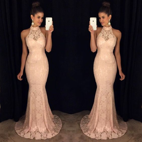 Halter Long Lace Prom Dress with Illusion Neck