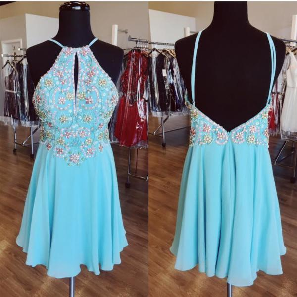Open Back Short Light Blue Homecoming Dress with Keyhole Front