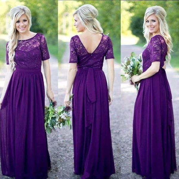 Half Sleeves Bridesmaid Dress