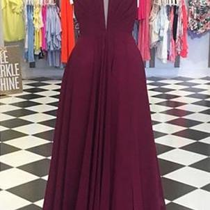 Plunging Neck Long Prom Dress with Open Back