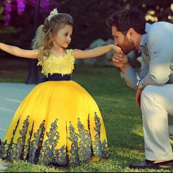 Yellow Flower Girl Dress with Navy Lace