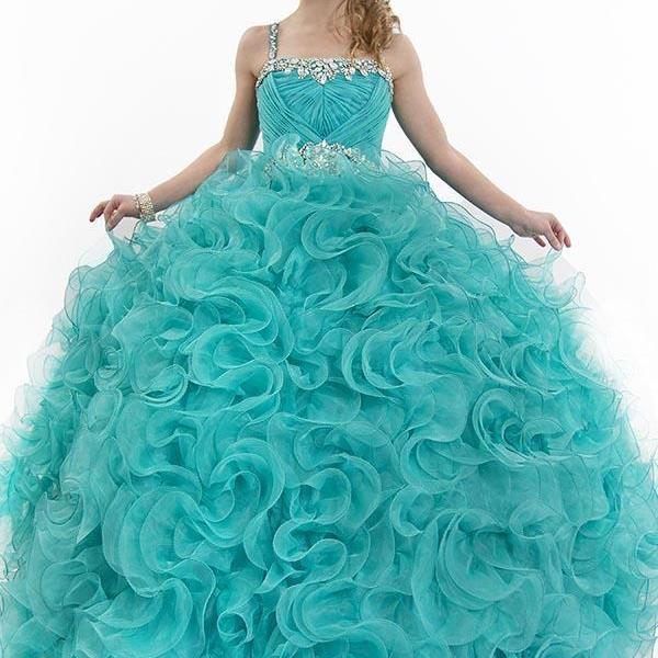 Blue Ruffled Ball Gown Dress