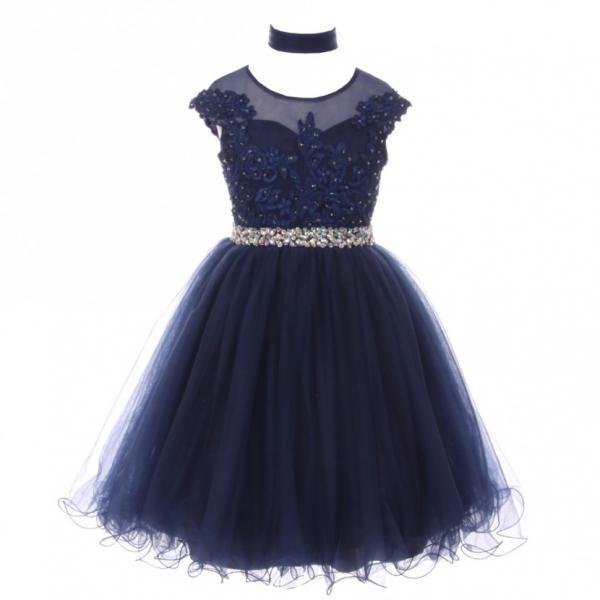 Navy Little Girl Dress with Beads