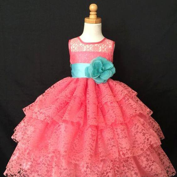 Tiered Lace Flower Girl Dress