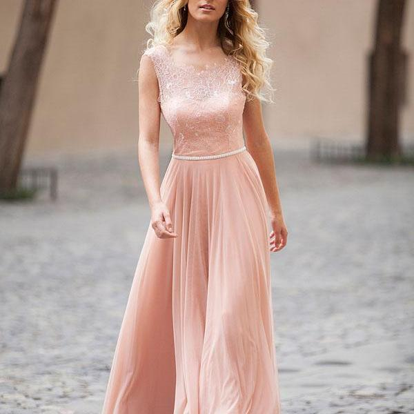 Sleeveless Sheer Lace Appliqués Chiffon A-line Floor-Length Prom Dress, Evening Dress Featuring Open Back