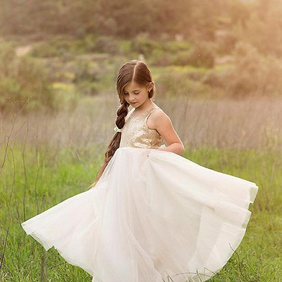 Gold Sequined Ivory Tulle Flower Girl Pageant Dresses