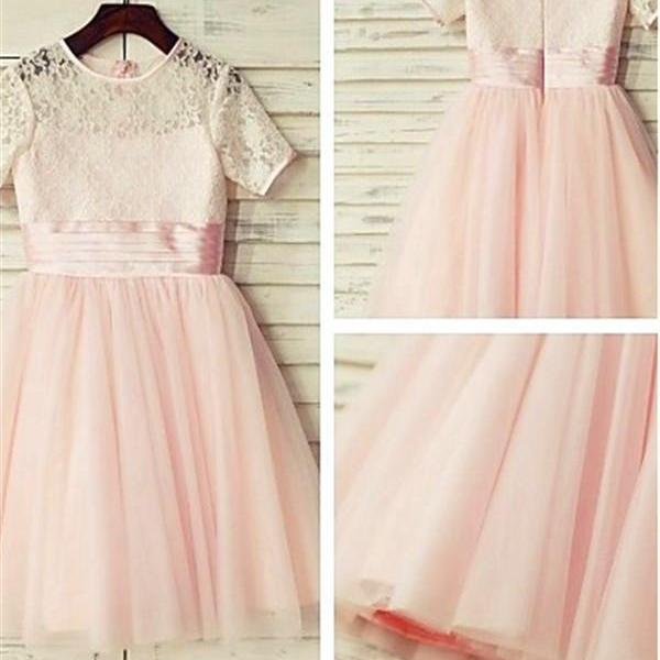 Princess Jewel Short Sleeves Lace Floor-Length Tulle Flower Girl Dresses