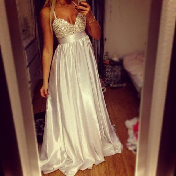 White Prom Dress with Beads