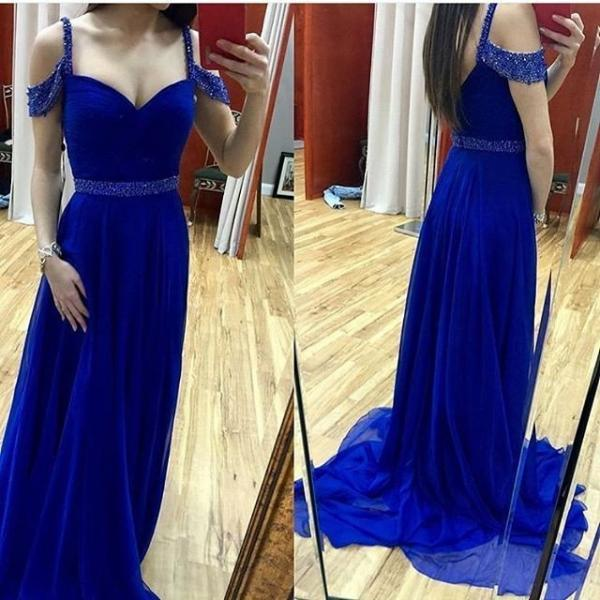 Long Royal Blue Prom Dress with Beaded Straps