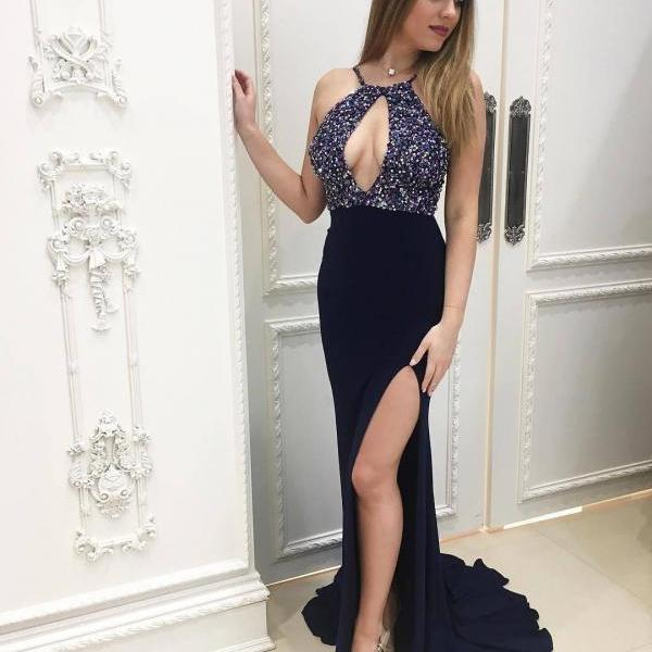 Halter Beaded Navy Prom Dress with Slit
