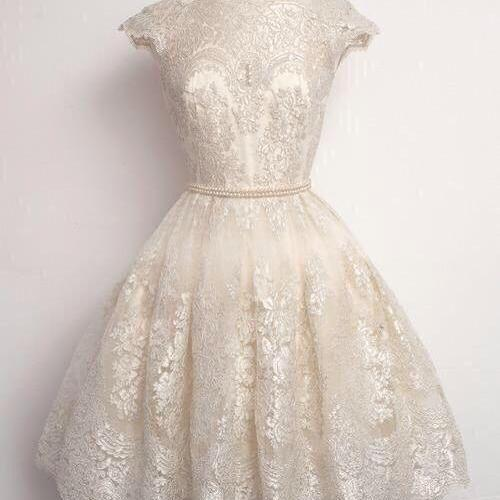 Vintage Short Lace Dress with Cap Sleeves