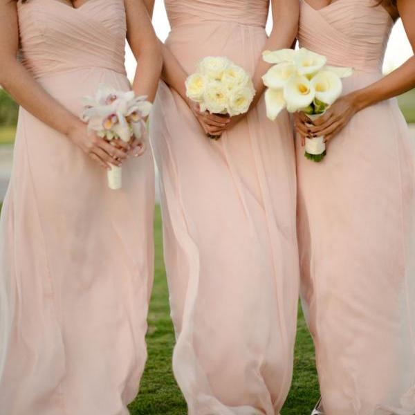 Sweetheart Ruched Floor Length Long Bridesmaid Dresses Women's Formal Occasion Dress