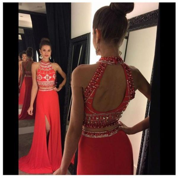 Halter Beaded 2 Pieces Prom Dress