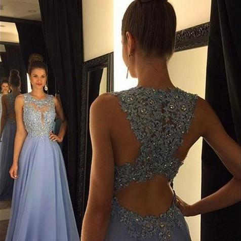 Jewel Neckline Lace Bodice and Chiffon Skirt Long Evening Dress Prom Dress Party Dress with Rhinestones