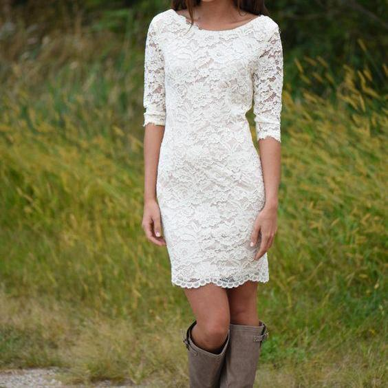 Sabrina Neckline Half Sleeves Knee Length Short Lace Wedding Dress