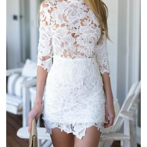 See Thrugh Short Mini Lace Dress
