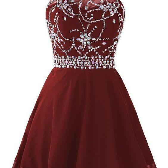 Beaded Halter Short Homecoming Dress Graduation Dress