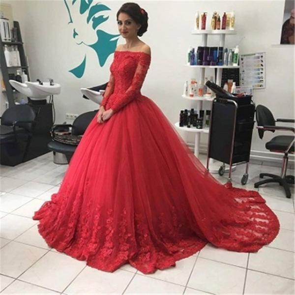 Off the Shoulder Red Ball Gown Bridal Wedding Dress
