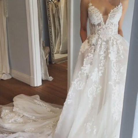 Floral Appliques Plunge V Spaghetti Straps Floor Length Tulle A-Line Wedding Dress Featuring Train