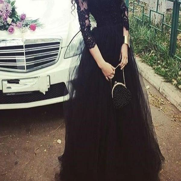 Black Prom Dress Formal Occasion Dress with 3/4 Sleeves