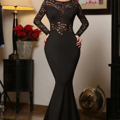 Black Long Lace Sleeves Mermaid Princess Prom Dress
