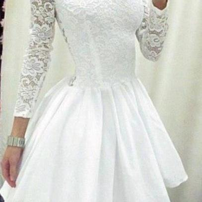 Long Sleeves Round Neck White Lace Dress