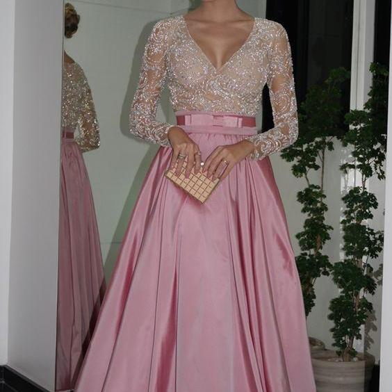 Long Sleeves Beaded Prom Dress with Beaded Illusion Bodice