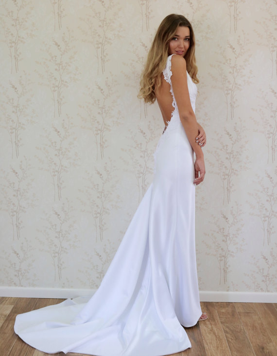 Backless fit to flare satin beach wedding dress boho for Backless beach wedding dresses