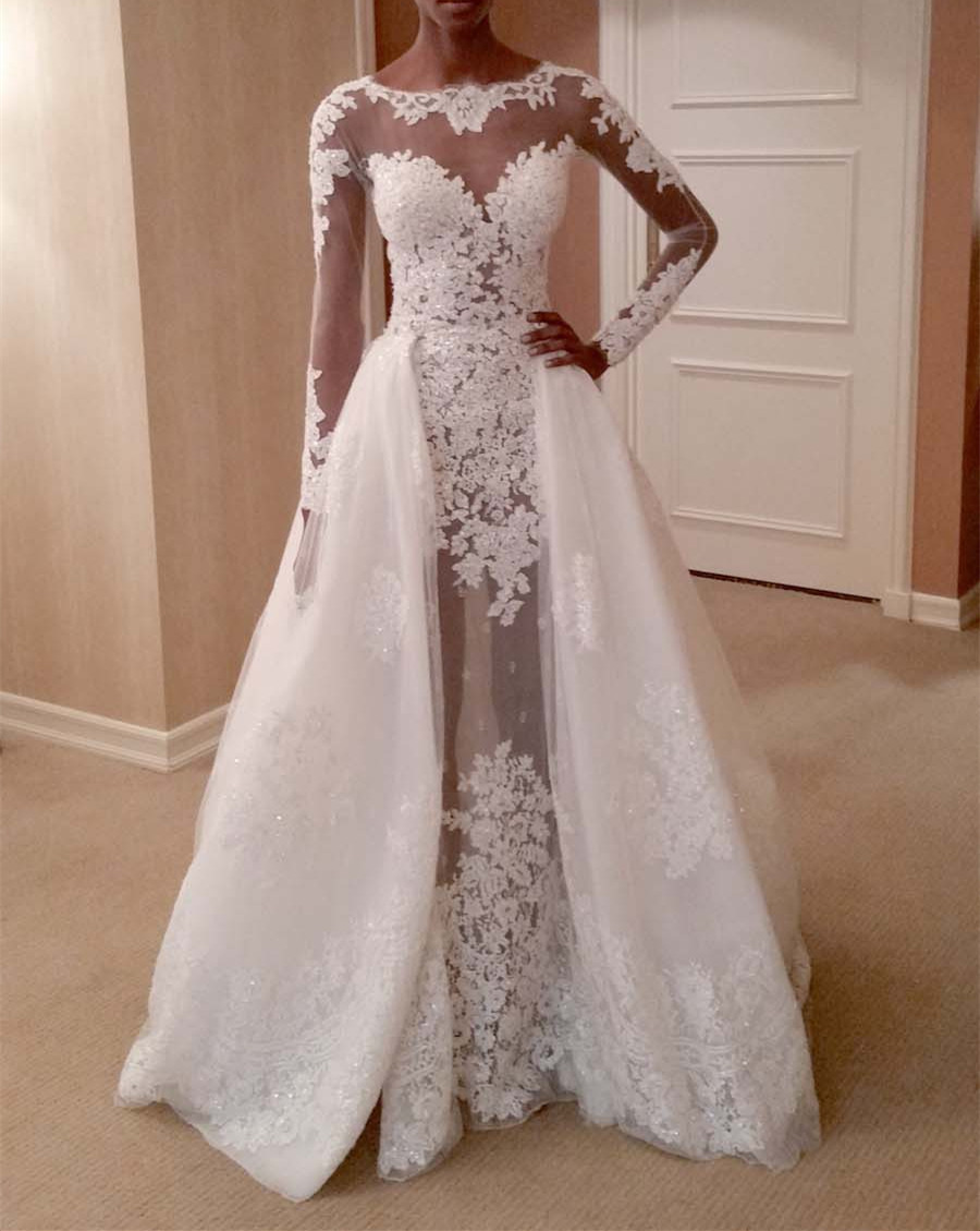 Fit To Flare Wedding Dress Long Sleeves With Removable Train On Luulla